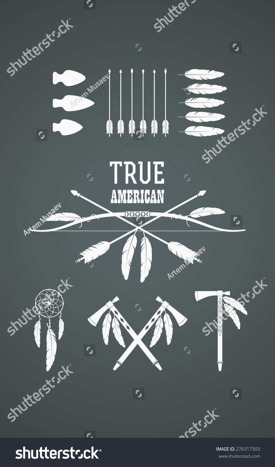 Set American Indian Tribal Symbols Native Stock Vector 276317303