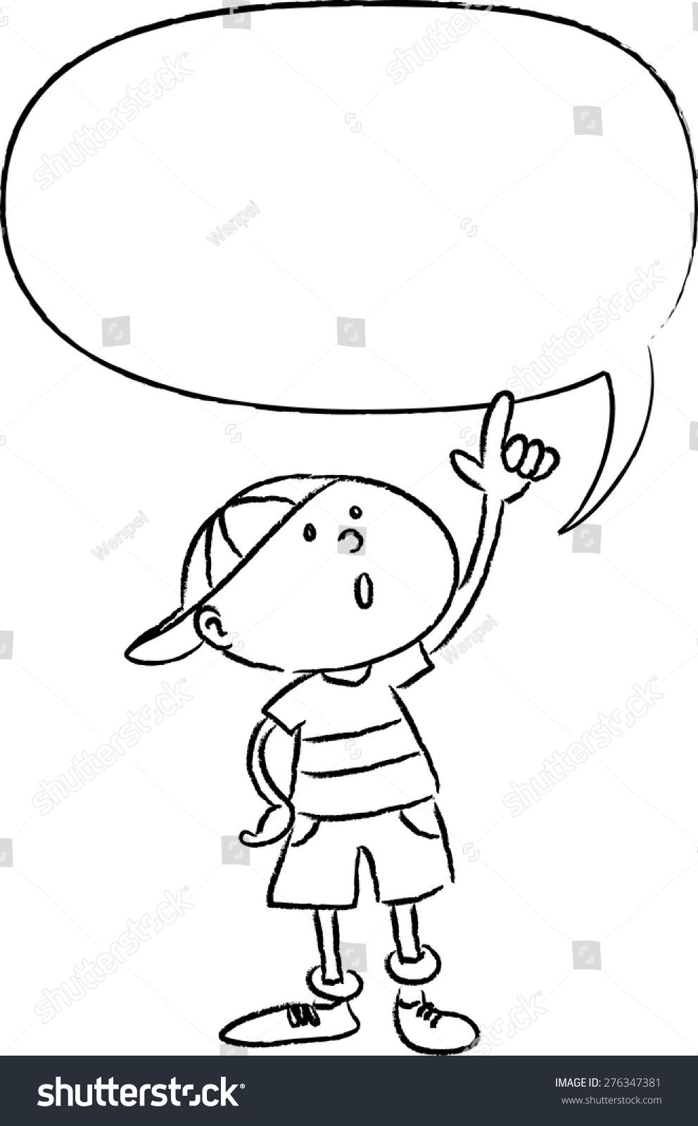 kid talking blank speech bubble stock vector (royalty free