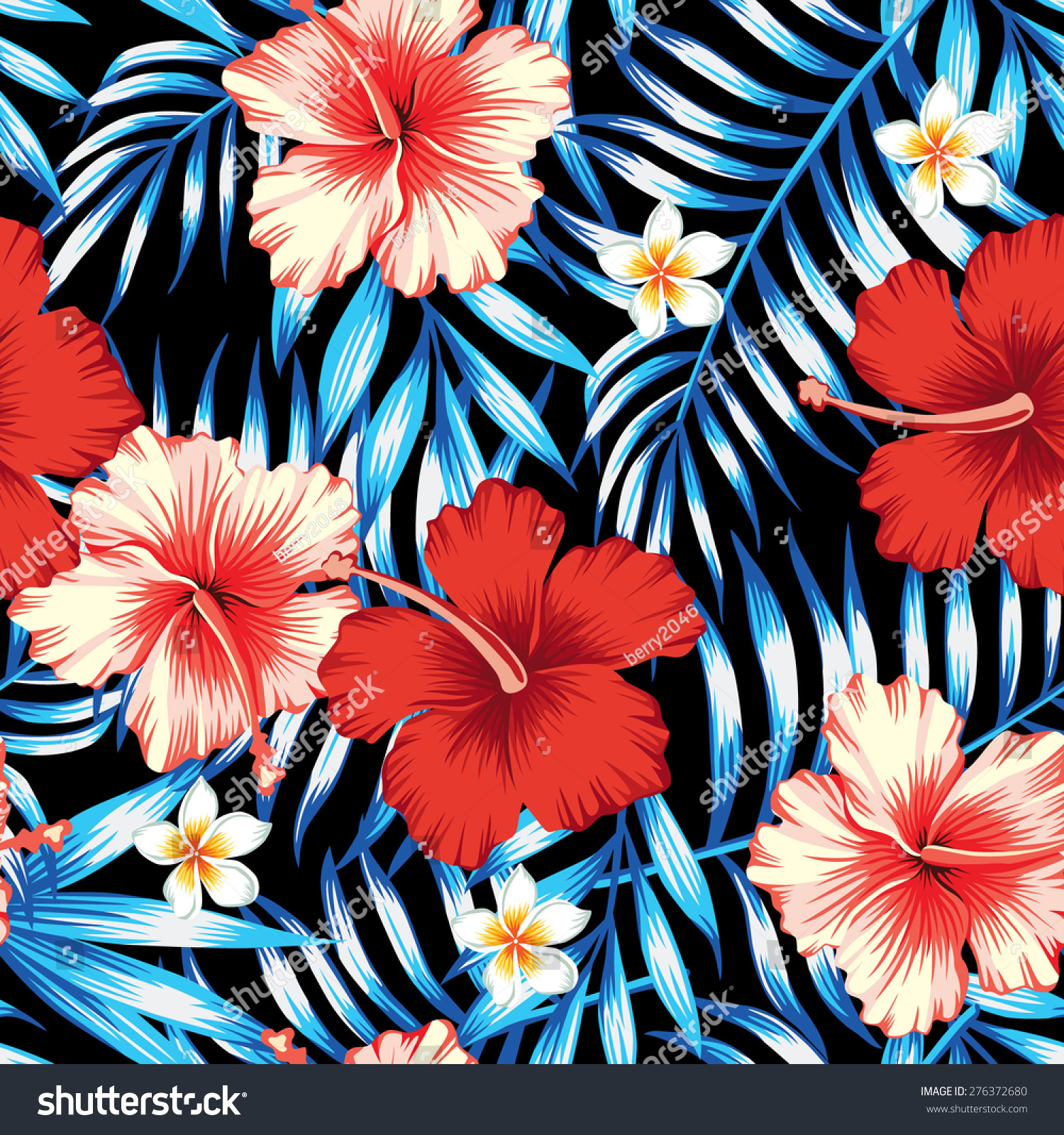 Red And Pink Hibiscus Flower On A Background Of Palm Leaves Plumeria In Trendy