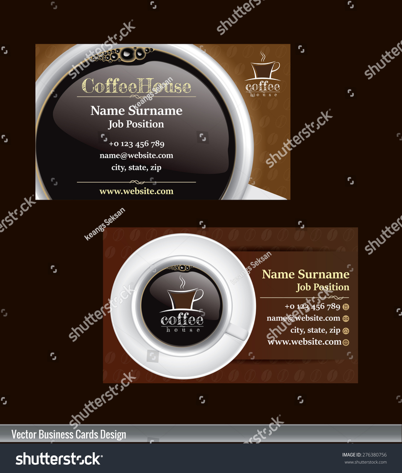 2 Set Coffee Business Card Template Stock Vector 276380756 ...