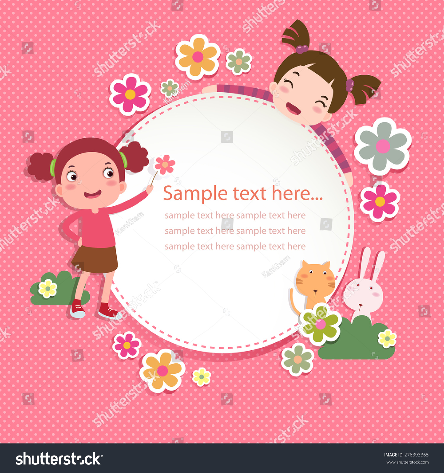 Greeting Card Templates With Cute Girls