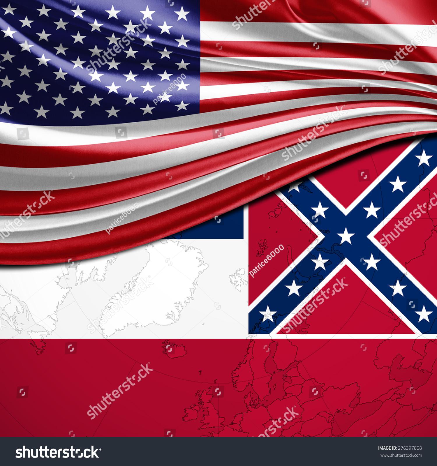 Usa Mississippi State Flag On World Stock Illustration - Mississippi state map usa