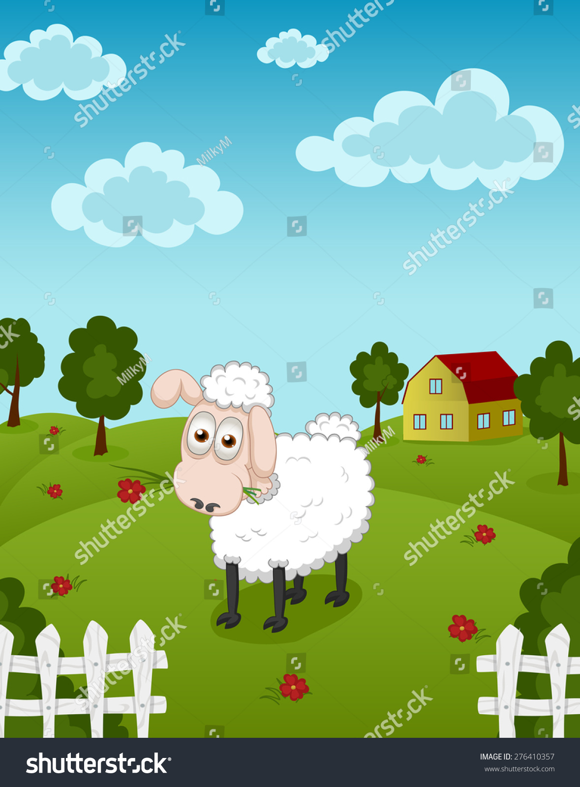 vector cartoon illustration funny smiling sheep stock vector