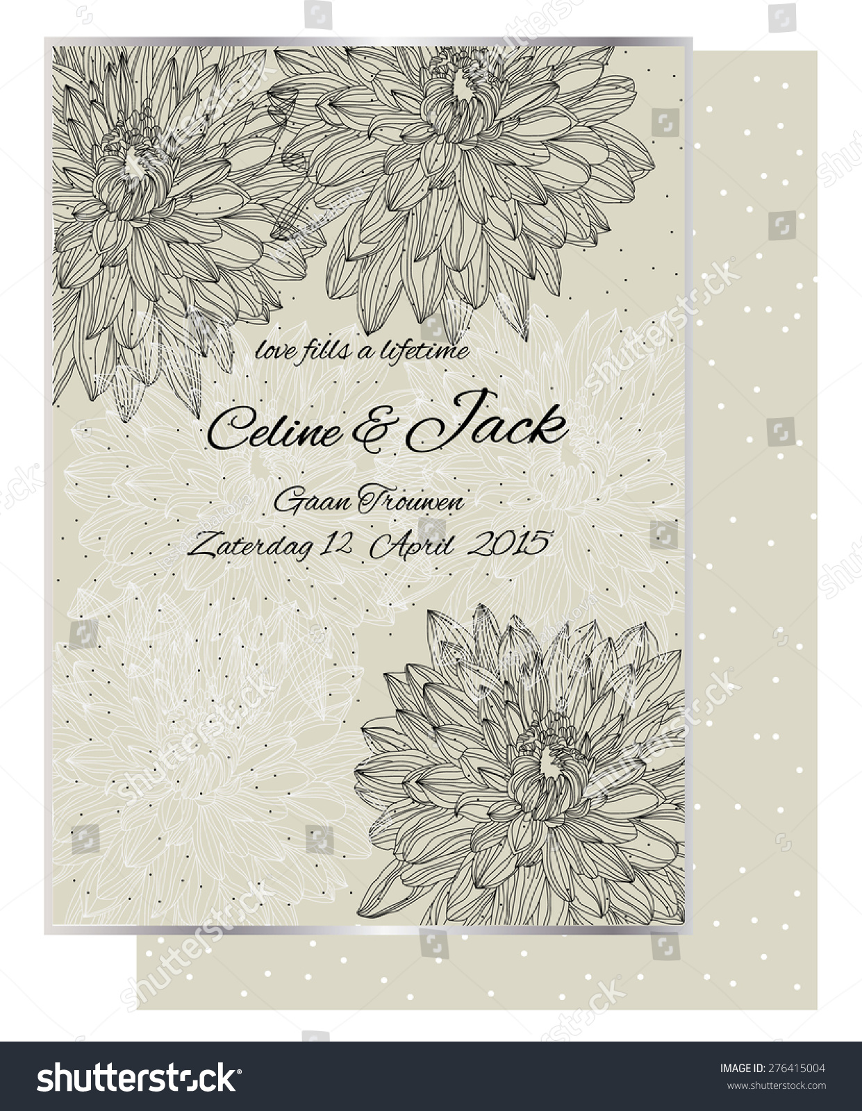 Beautiful Retro Wedding Invitation White Black Stock Vector ...