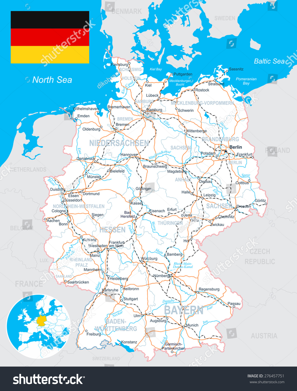 Germany map flag roads illustration land stock vector 276457751 germany map flag roads illustration land contours country and land names publicscrutiny Choice Image
