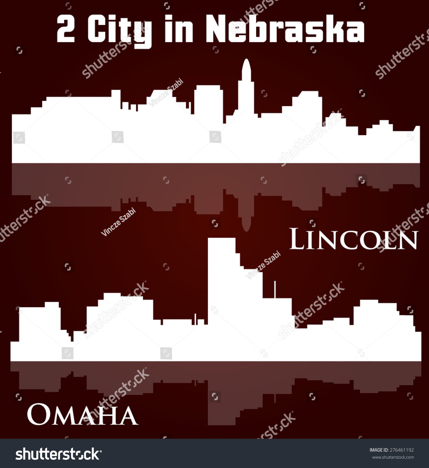 Set 2 City Silhouette Nebraska Lincoln Stock Vector