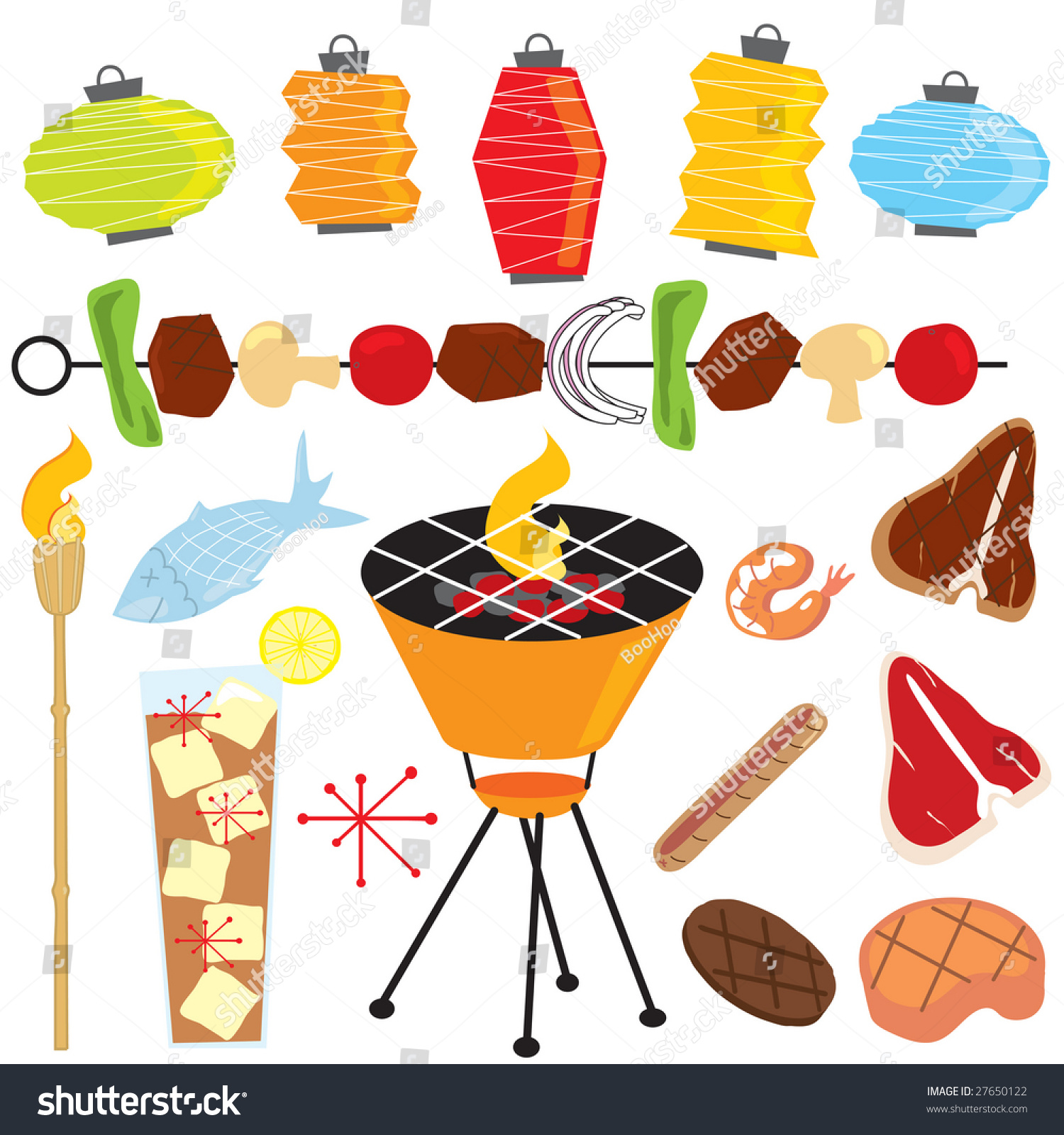 Outdoor Party Lights Clipart: Retro Barbeque Party Tiki Torch Lanterns Stock