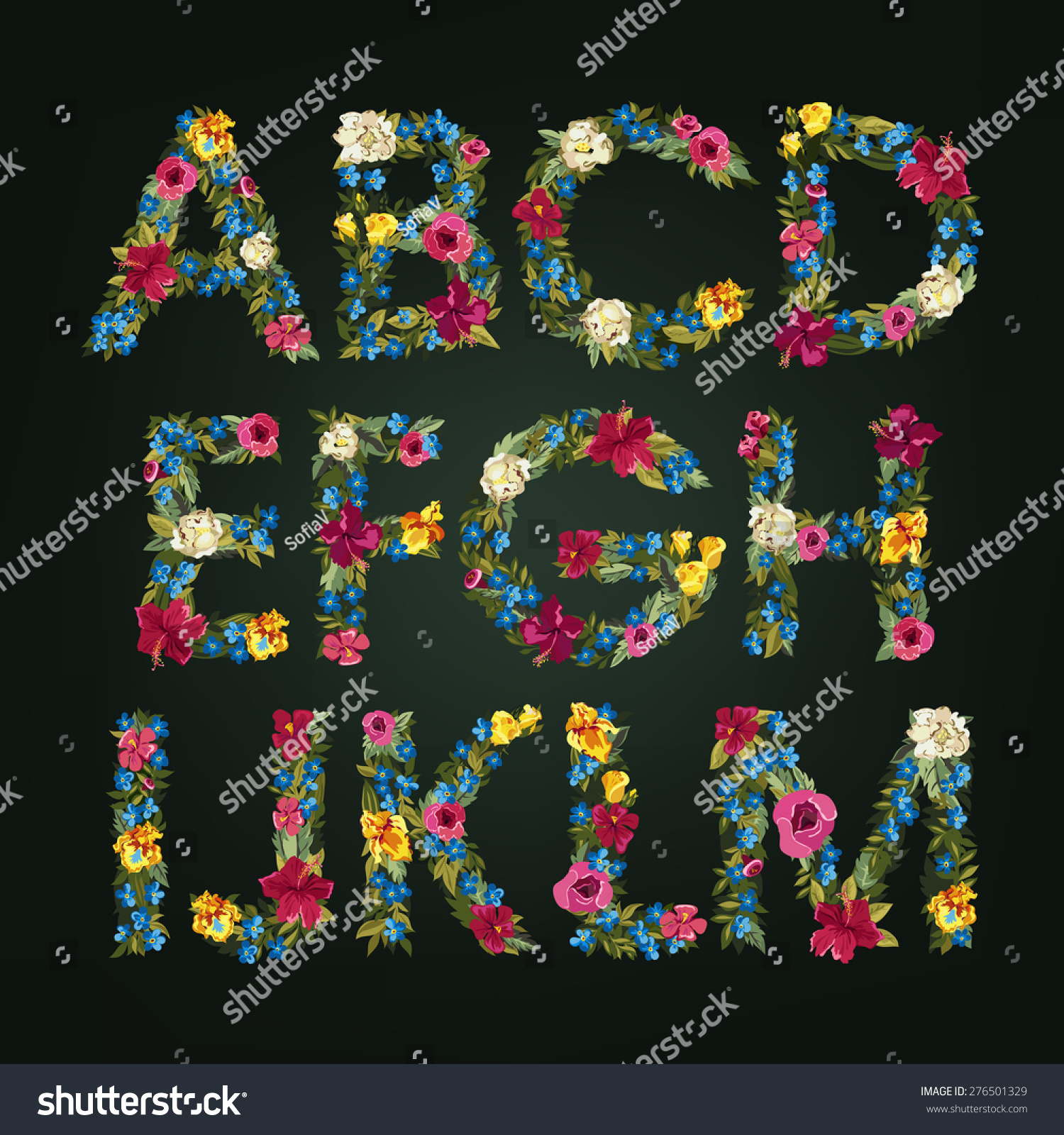 Capital Letters Flower Alphabet Colorful Font Uppercase