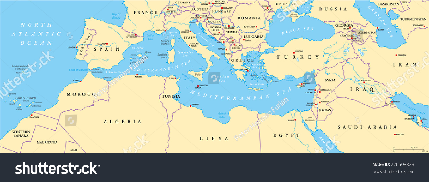 mediterranean basin political map south europe north africa and near east with capitals