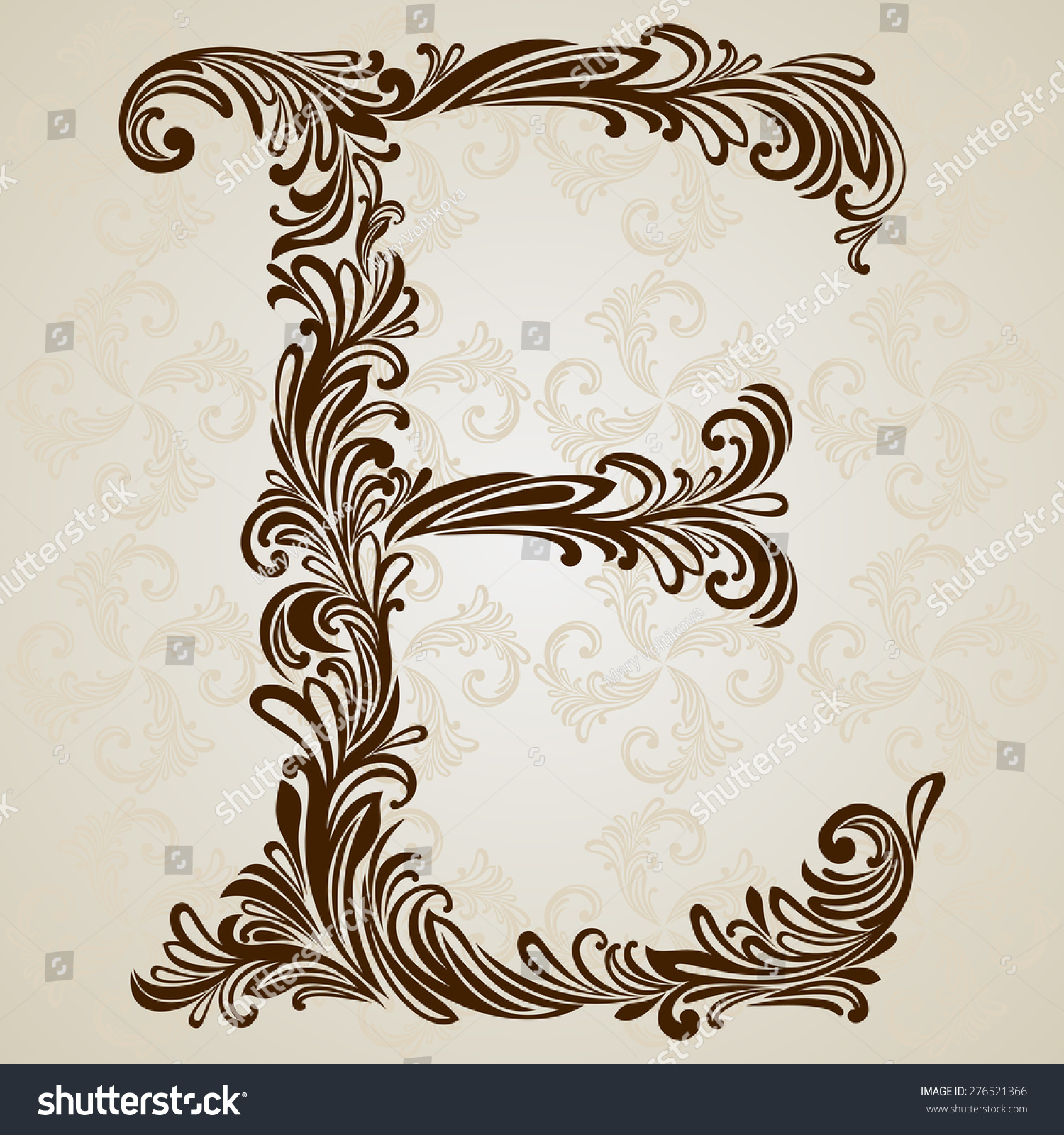 Calligraphic Font Vintage Initials Letter E Vector Design Background Swirl Style Illustration