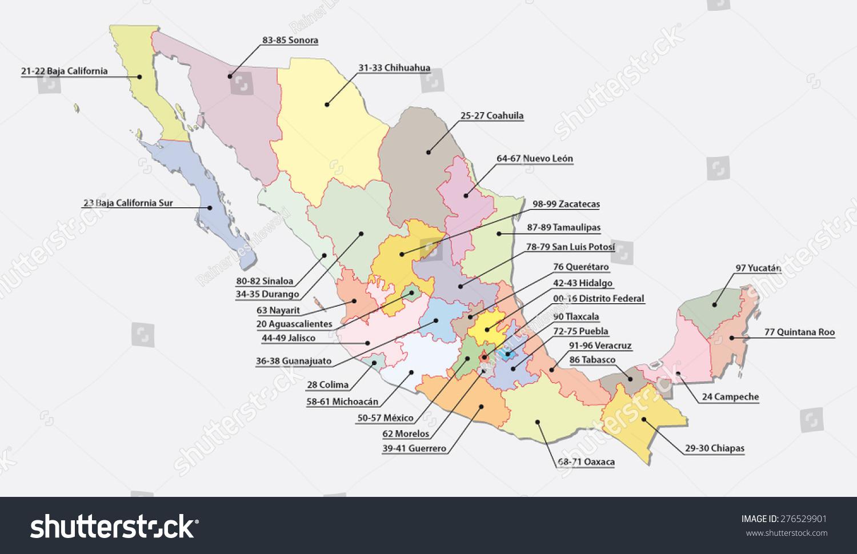 Picture of: Vector De Stock Libre De Regalias Sobre Mexico Postal Code Areas Map276529901