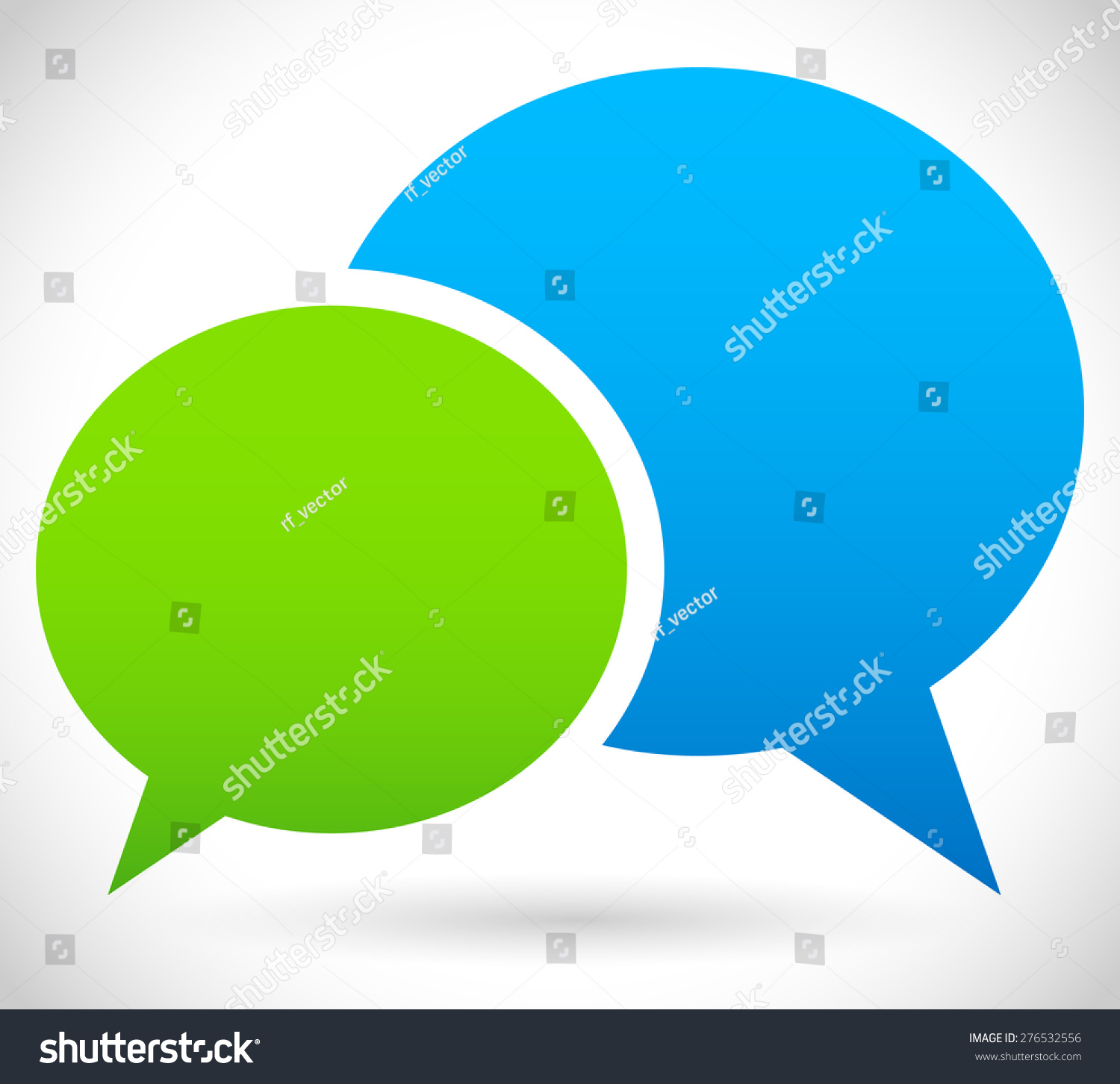 Two Overlapping Speech Talk Bubbles Communication Stock