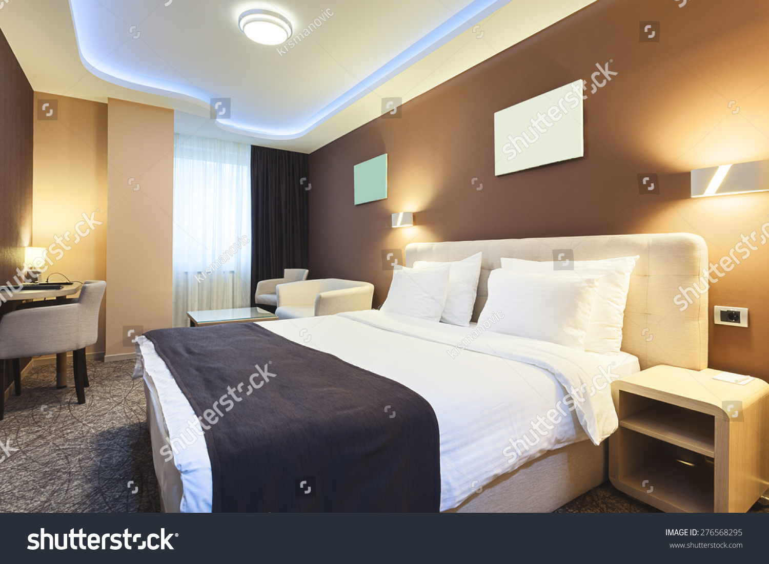 Interior Hotel Room Two Persons Modern Stock Photo