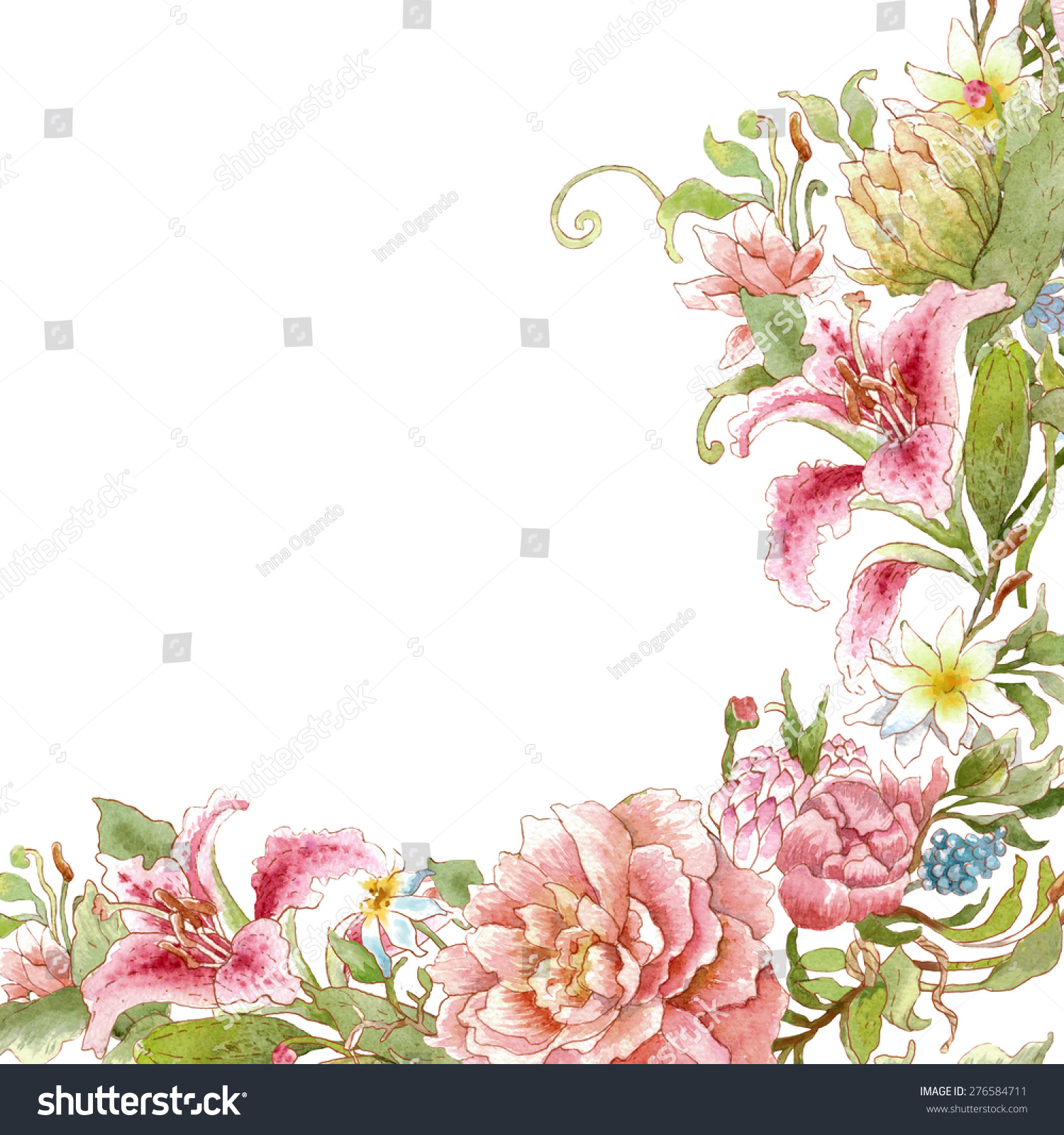 Watercolor Floral Card Template White Background Empty Space For