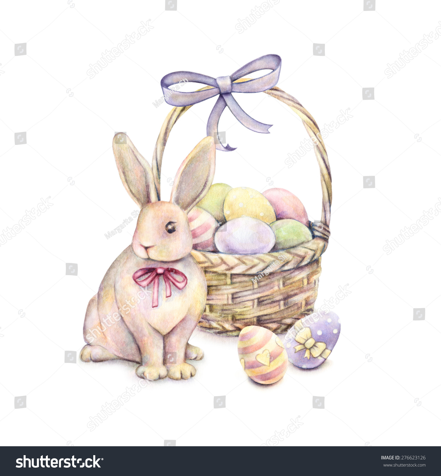 Rabbit With Easter Basket Isolated On A White Background Color Easter Eggs  Watercolor Drawing