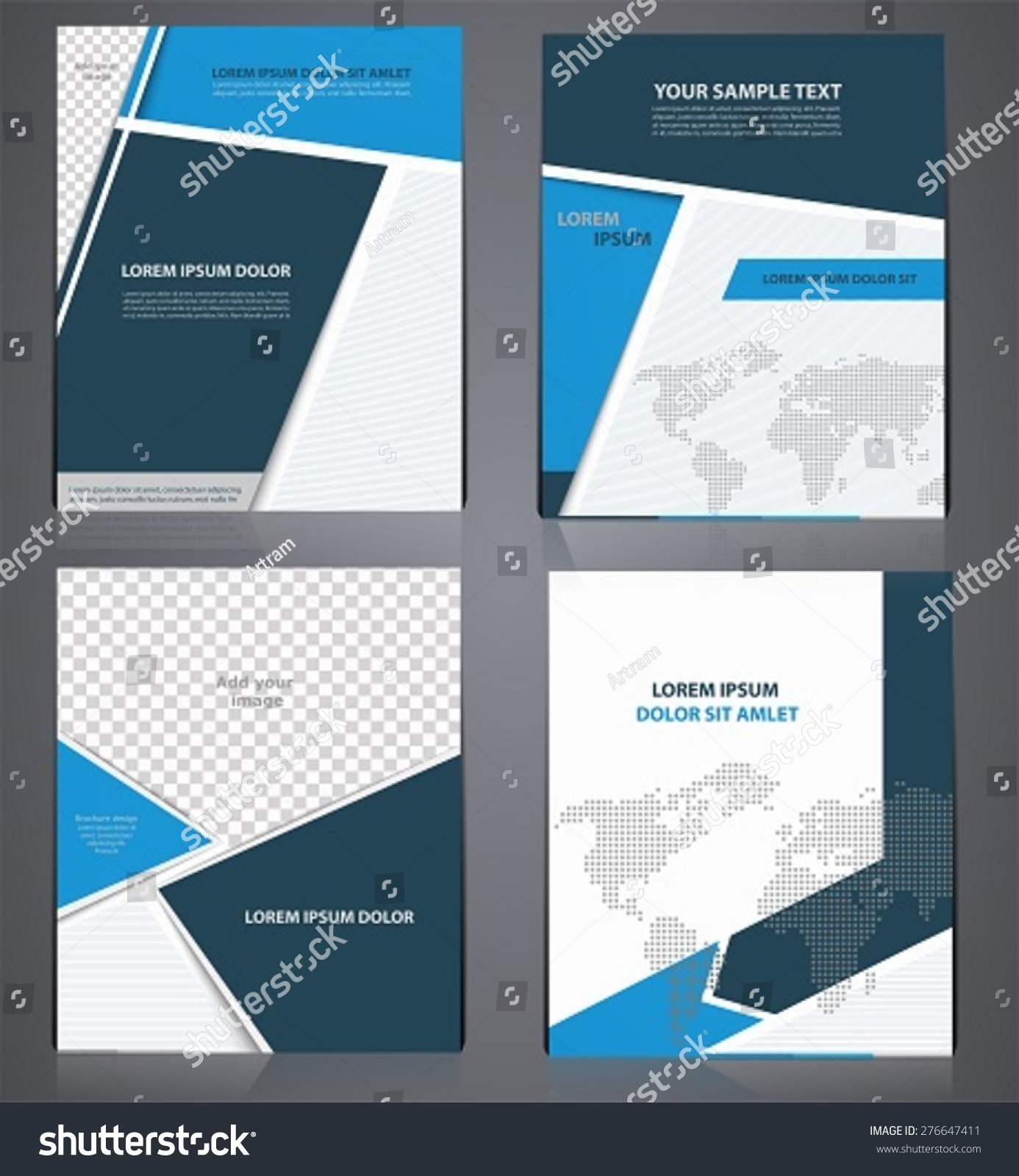 Set Blue Business Brochures One Style Vector 276647411 – Sample Business Brochure