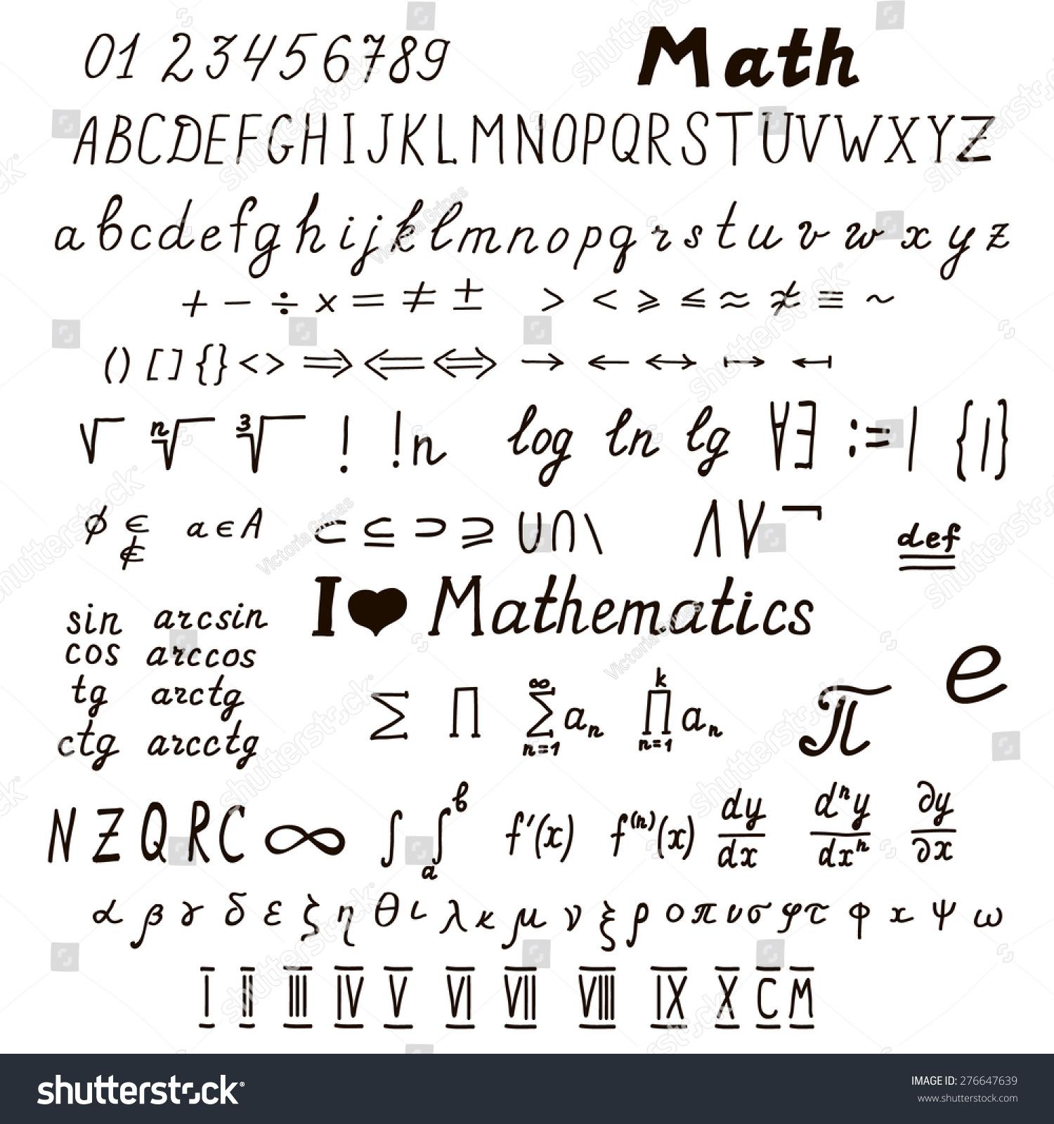 Big set handdrawn mathematical signs symbols stock vector big set of hand drawn mathematical signs and symbols latin and greek alphabet buycottarizona Image collections