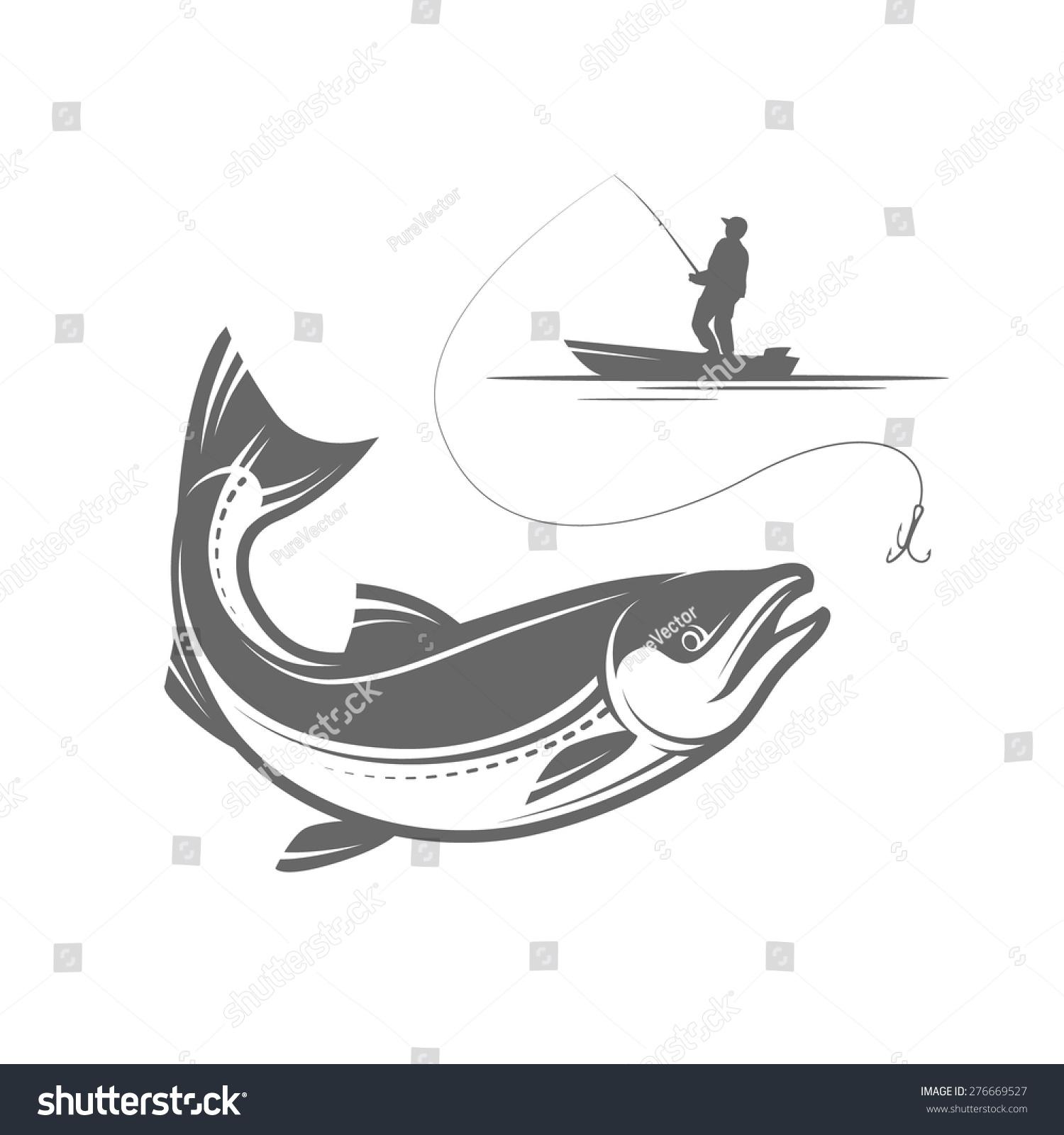 Outline Pike Fishing Vector Illustration Stock Vector 276669527 ...