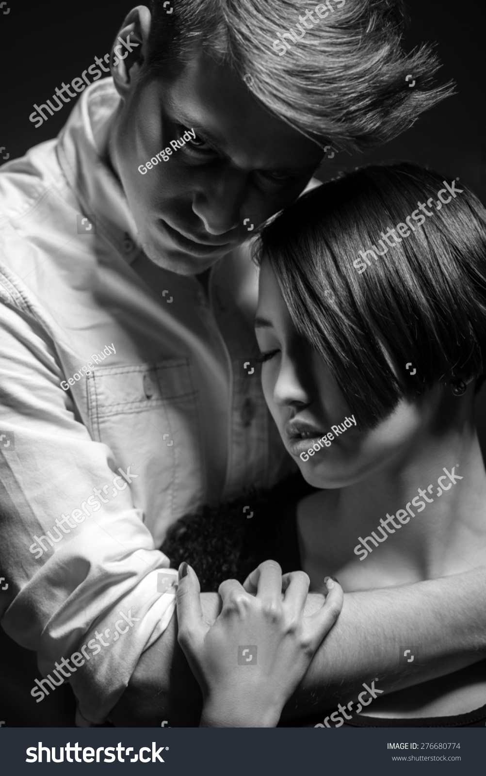 Passionate Hug Black And White Young Fashionable Pass...