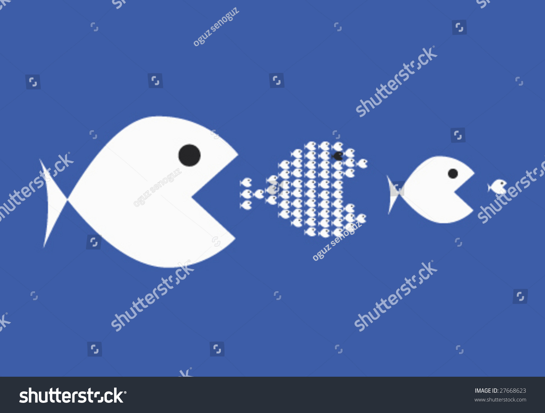 Big fish eat little fish stock vector illustration for Big fish eat little fish