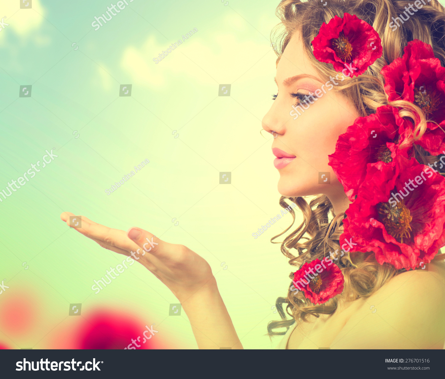 Beauty Girl Red Poppy Flowers Hairstyle Stock Photo Edit Now