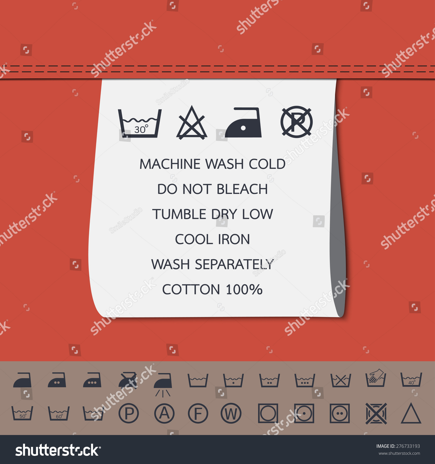 Clothing Label Washing Symbol Stock Vector Royalty Free 276733193