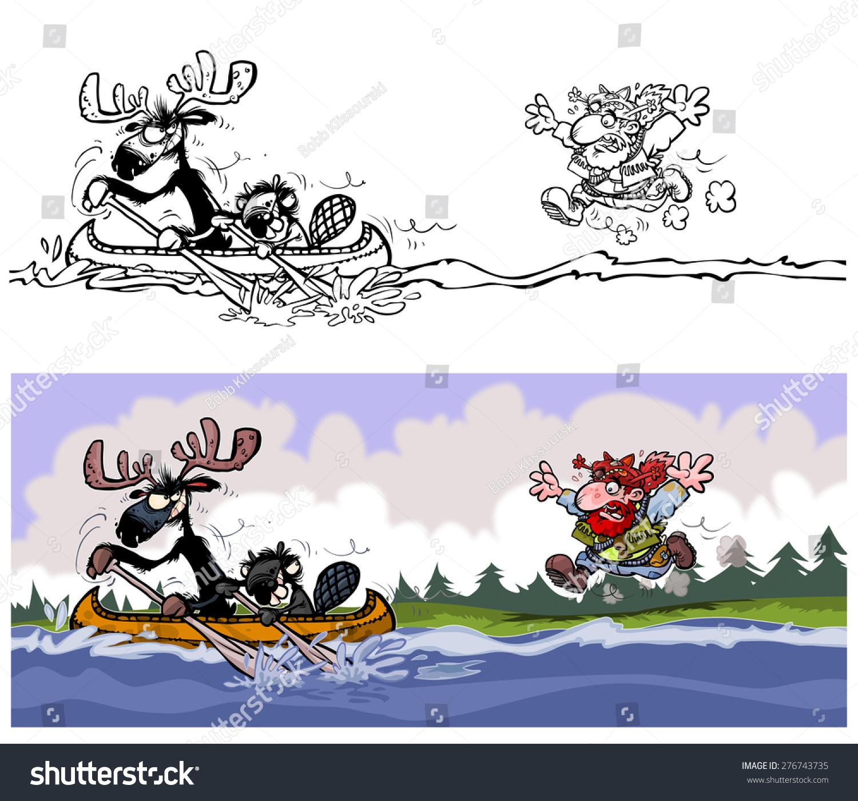 funny moose beaver trapper illustration outline stock illustration