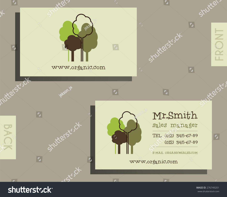 Eco Organic Visiting Card Template Natural Stock Vector Royalty