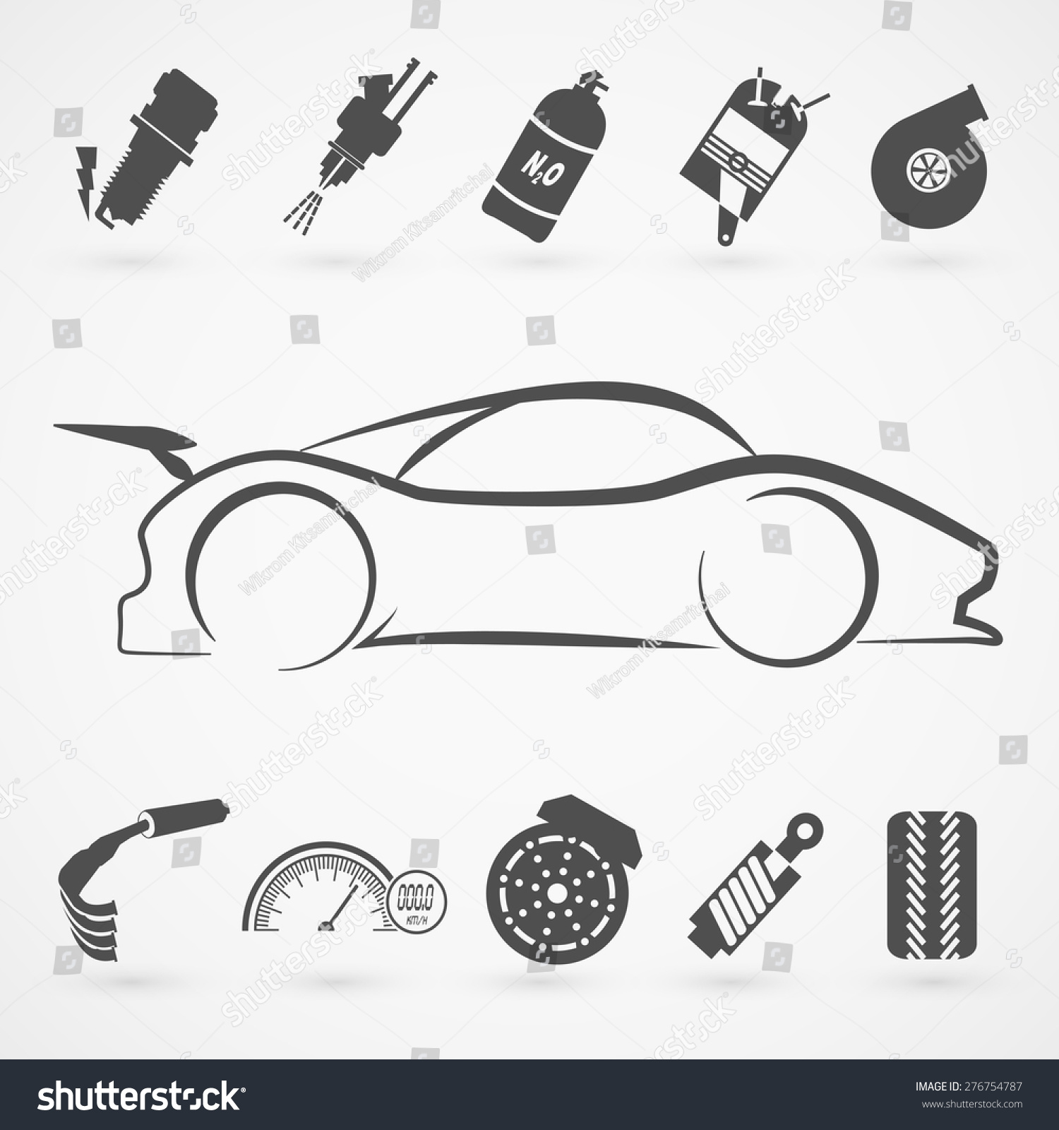 Race car logo hand draw with many modification item. EPS10 Art vector