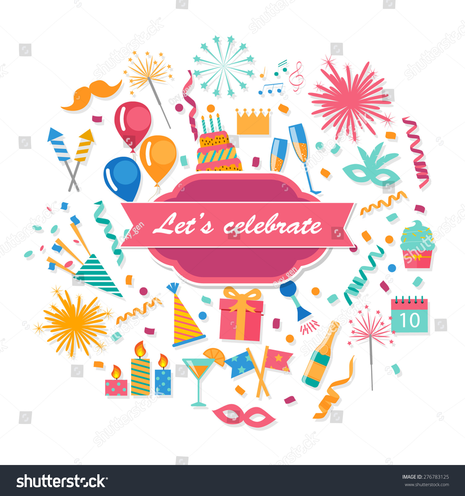 Celebration - Party And Celebration Background With Event Design Elements Vector Illustration Greeting Card Includes