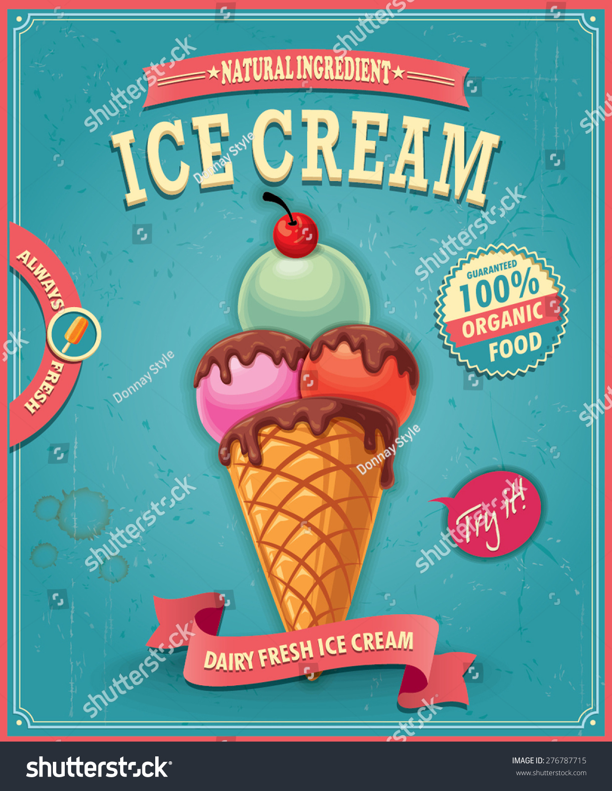 Vintage Ice Cream Poster Design Stock Vector 276787715 - Shutterstock