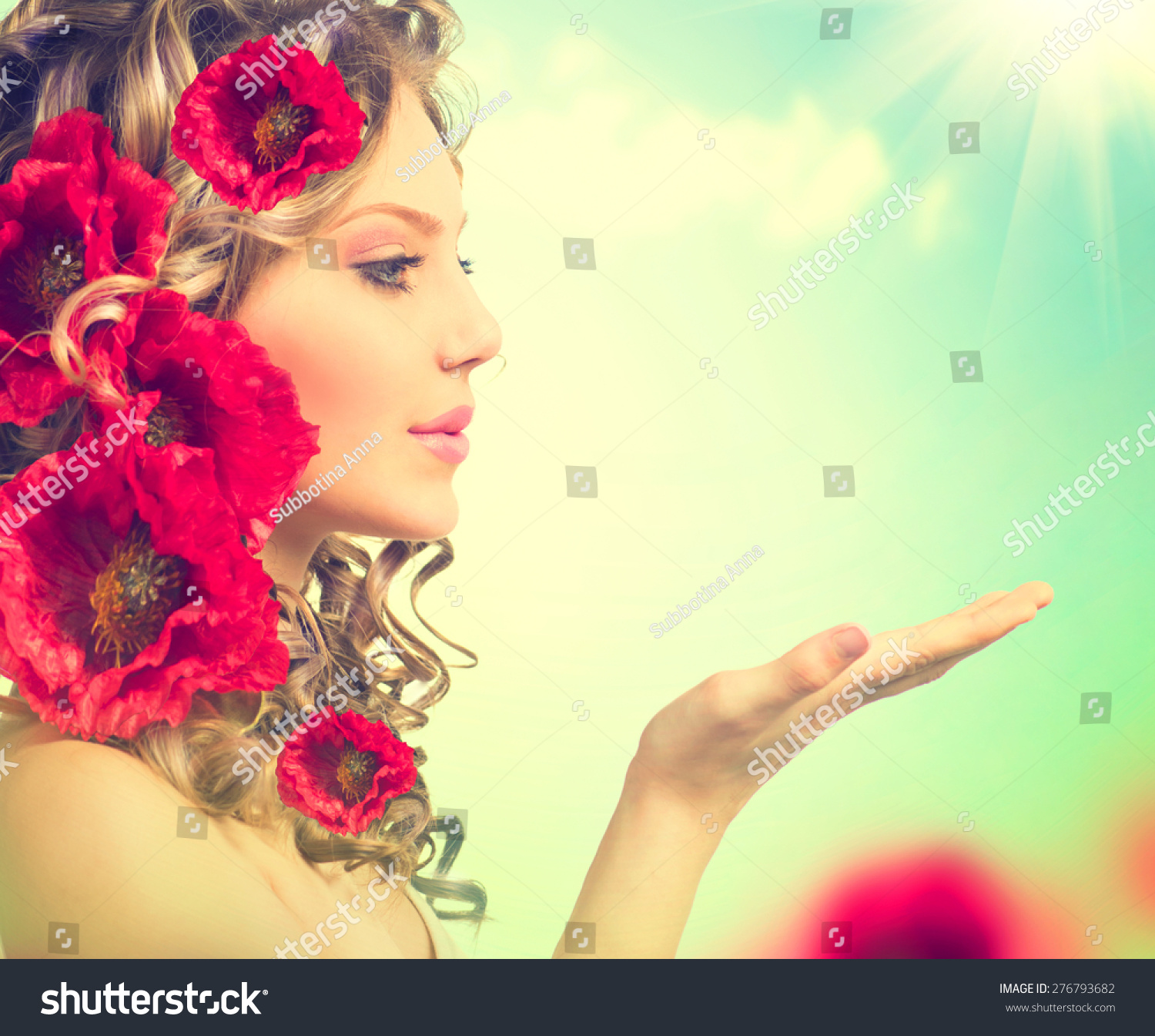 Royalty Free Beauty Girl With Red Poppy Flowers 276793682 Stock