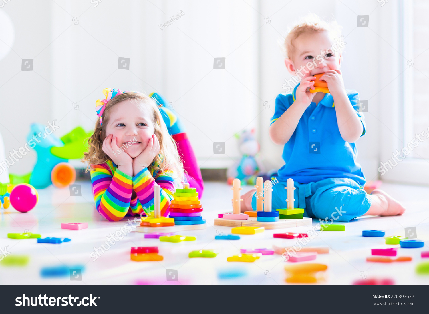 Toys For Boys Kindergarten : Kids playing wooden toys two children stock photo