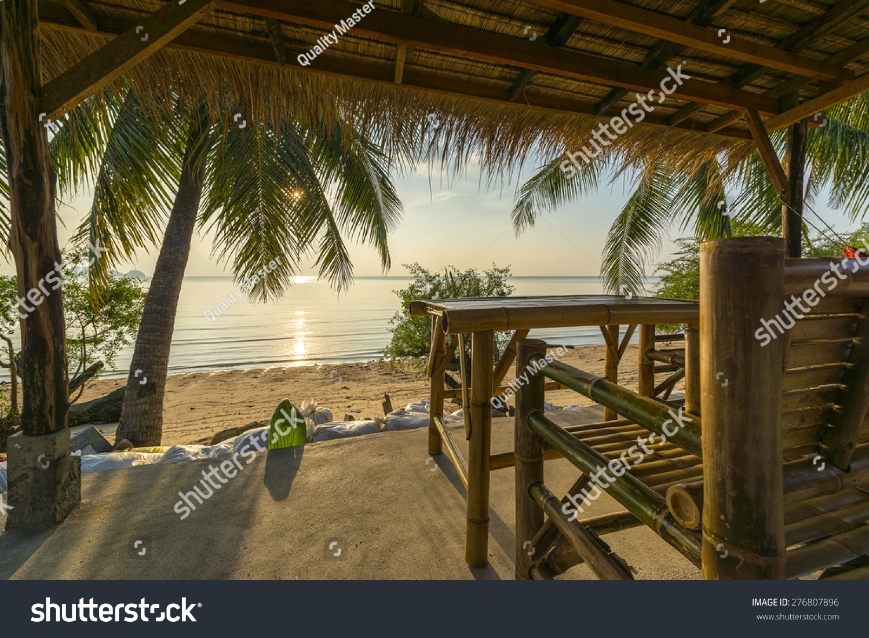 Tropical Island Beach Hut: Tropical Island Hut On Beach At Sunset Stock Photo