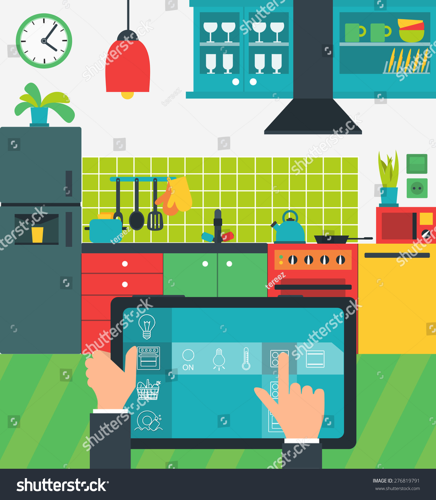 Internet Things Home Smart Kitchen Controlled Stock Illustration ...