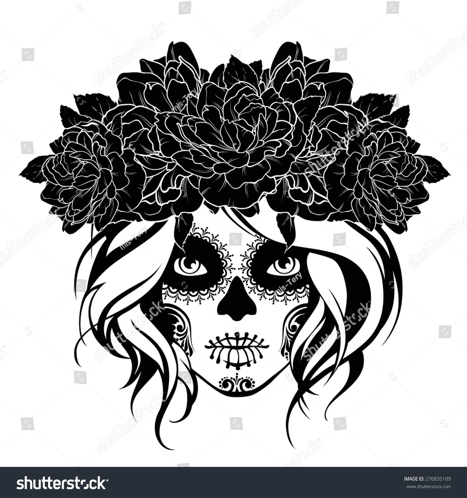 Black and white floral wreath stock vector image 65241515 - Skull Girl Flower Wreath Black White Stock Vector 1500x1600