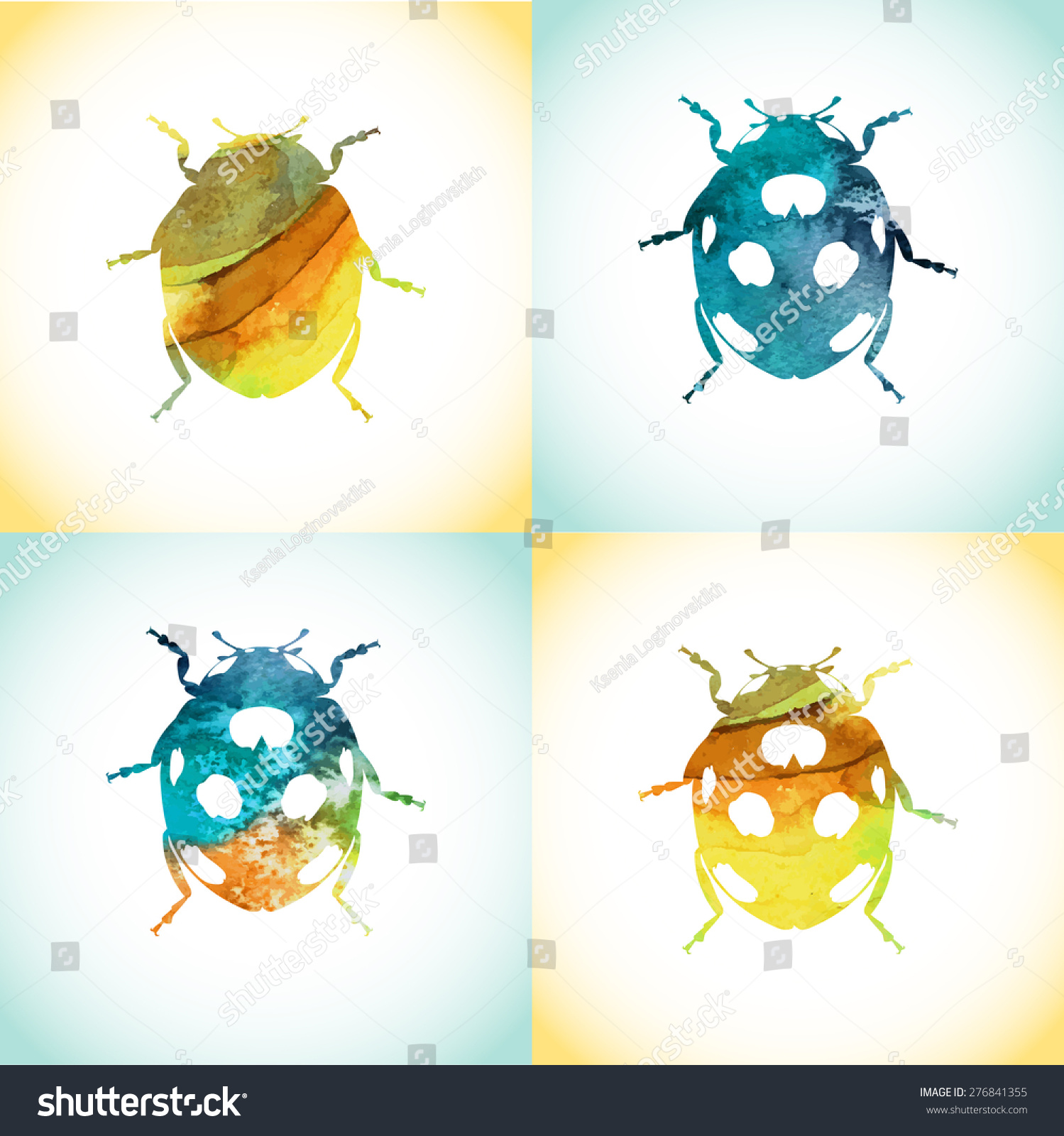 Hand Painted Aqua Color Ladybird Pattern Stock Vector (Royalty Free ...