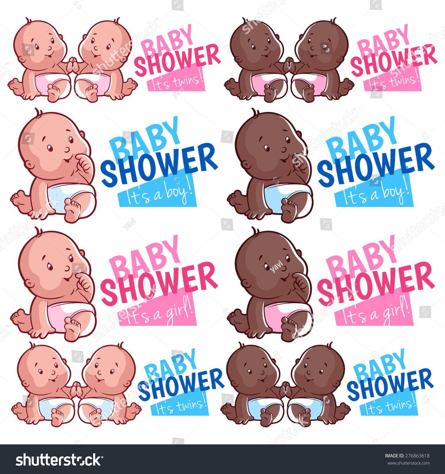 Logo Template Baby Shower Boy Girl Stock Vector 276863618