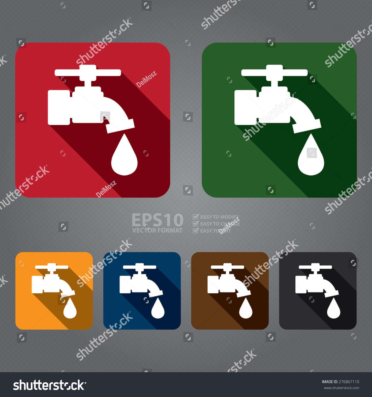 Vector Square Running Water Tap Water Stock Vector Royalty Free