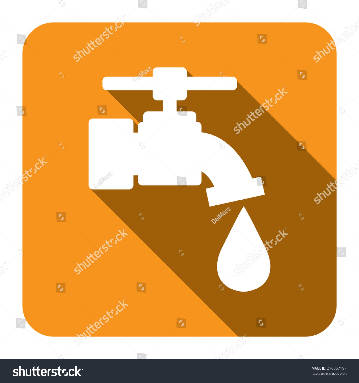 yellow square running water, tap water flat long shadow style icon, label,  sticker