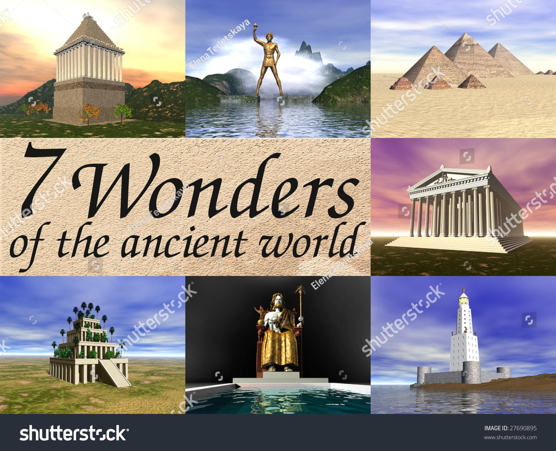Seven Wonders Ancient World 3d Reconstructions Stock Illustration ...