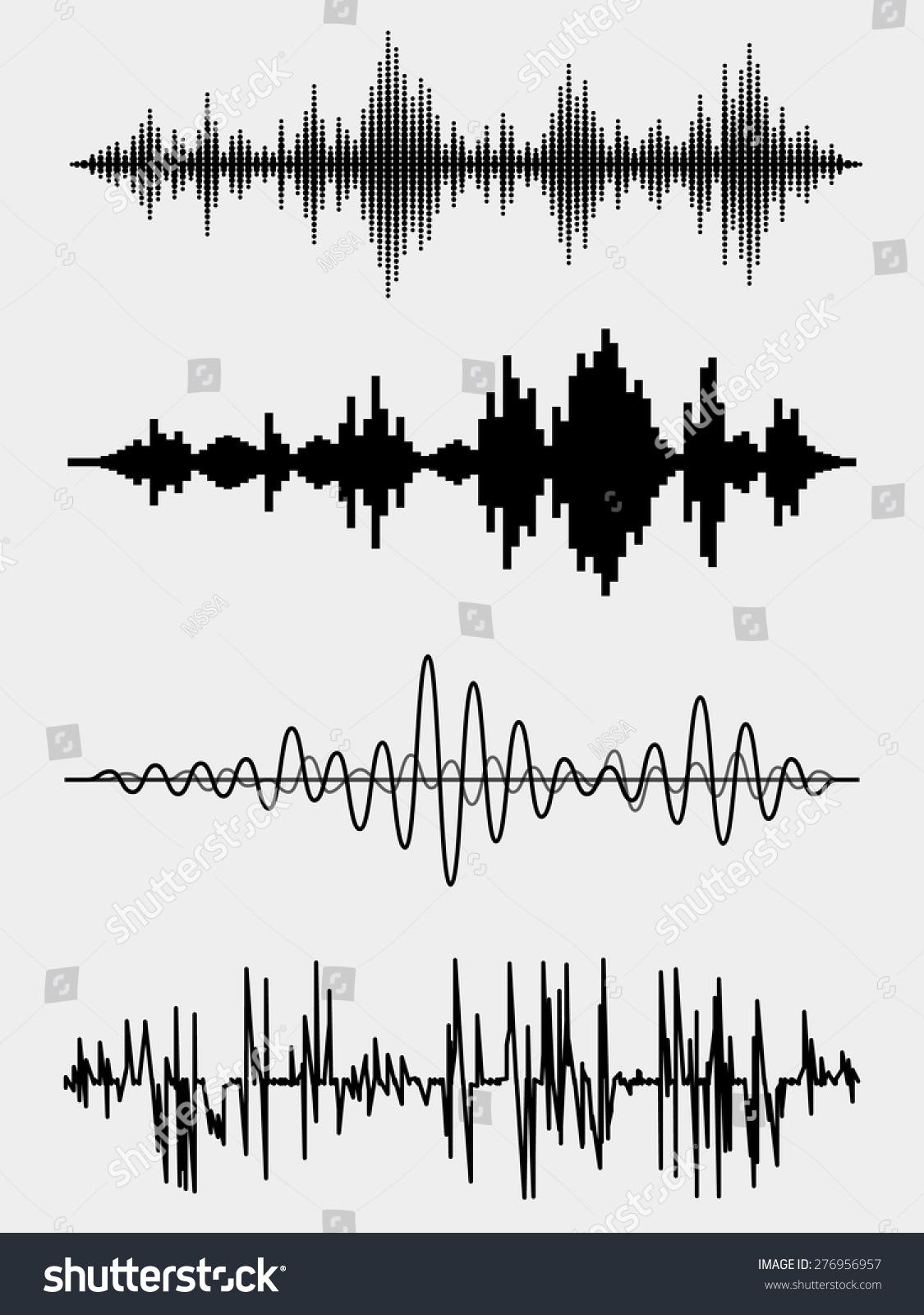 Acoustic Sound Waves : Vector sound waves set audio equalizer stock