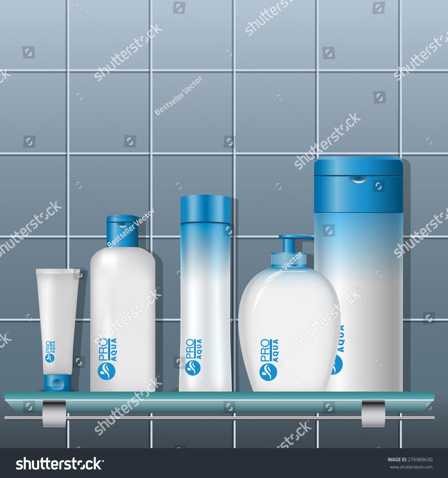 Cosmetics Set On Shelf Bathroom Plastic Stock Vector (Royalty Free ...