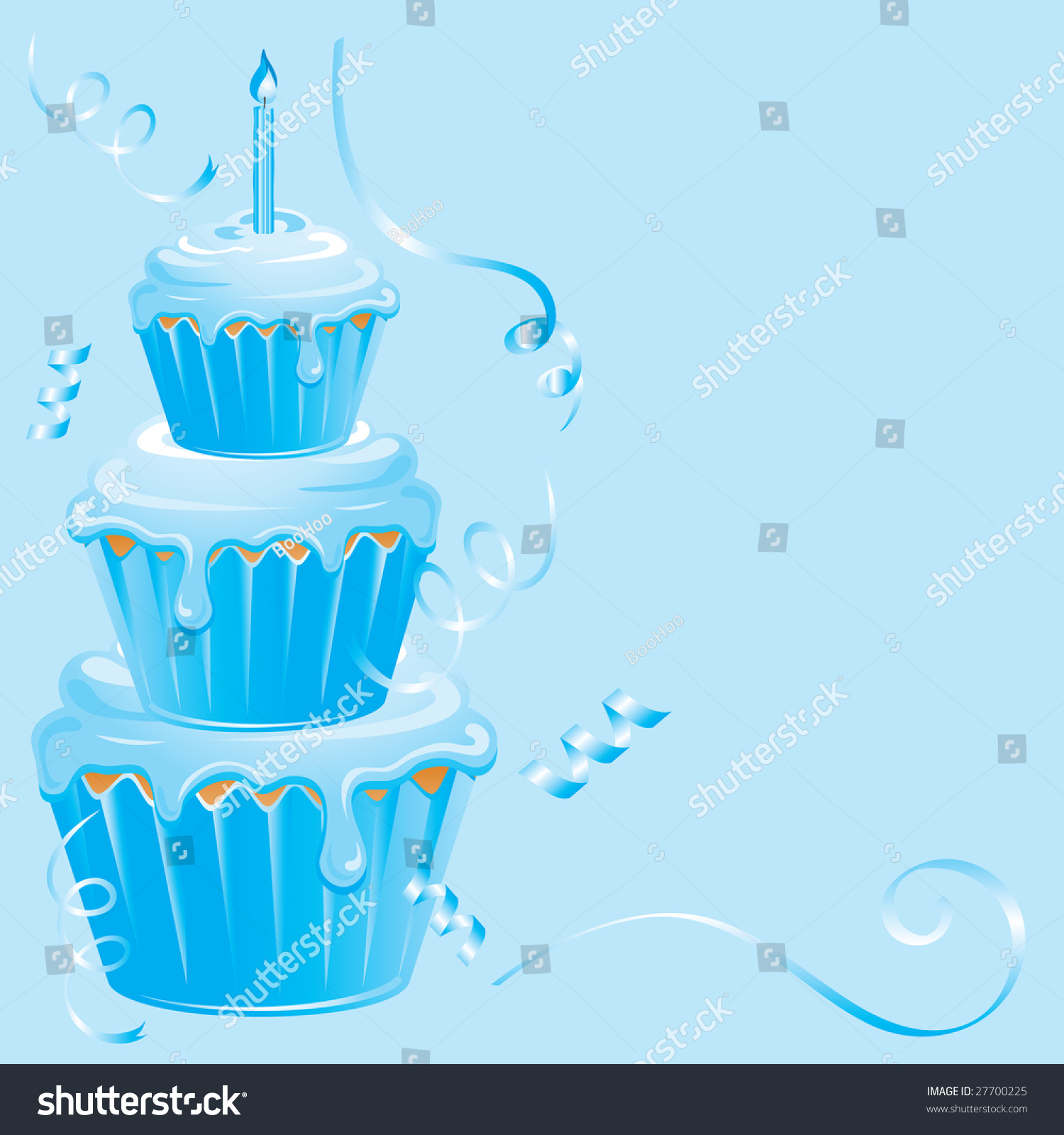 Boys Birthday Cupcake Candle Confetti Streamers Stock Vector 27700225 - Shutt...