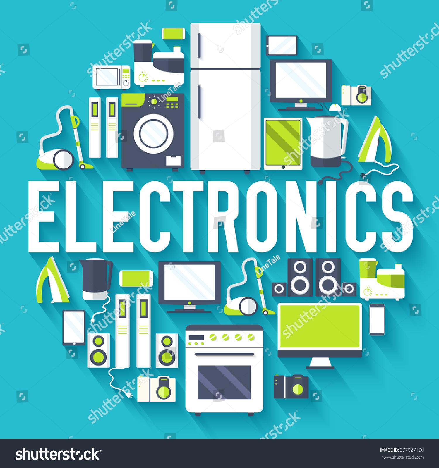 home electronics appliances circle infographics template