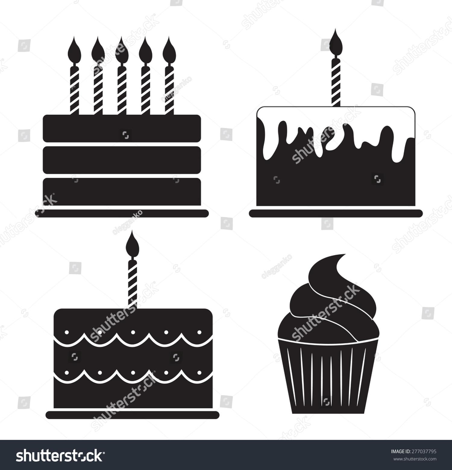 Birthday Cake Silhouette Set Vector Illustration Stock