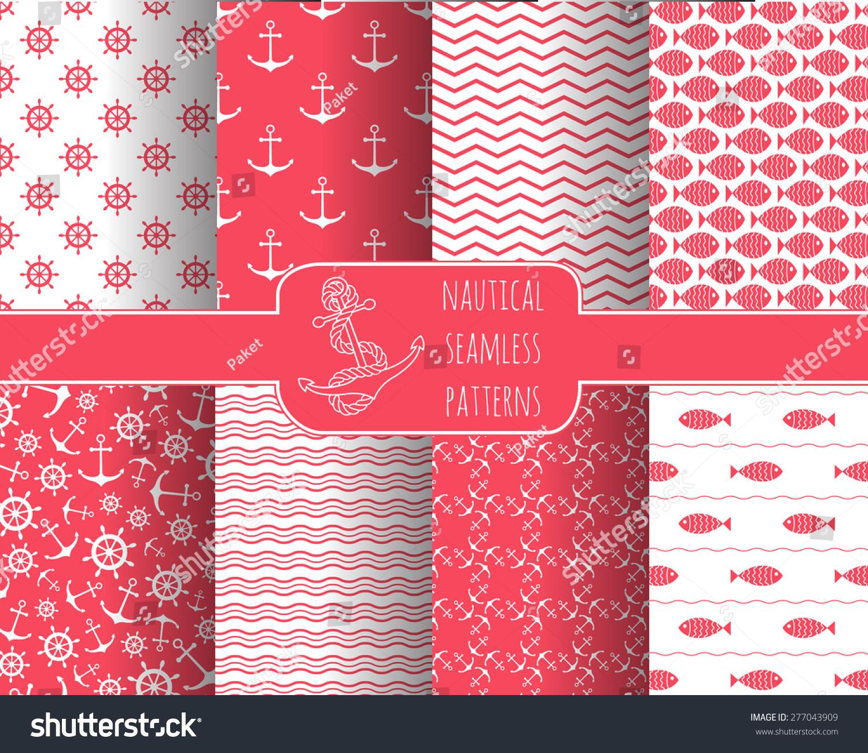 Seamless Nautical Themed Patterns Set Anchors Stock Vector (Royalty ...
