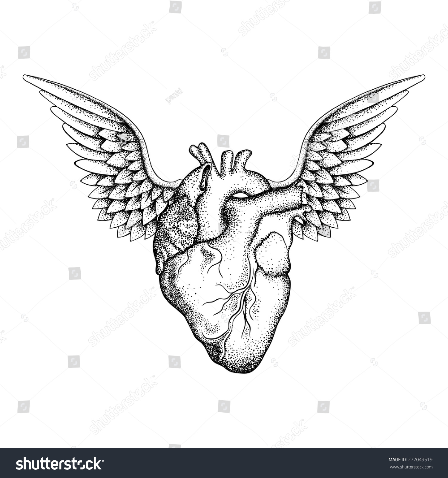 Hand Drawn Elegant Heart Wings Black Stock Vector Royalty Free