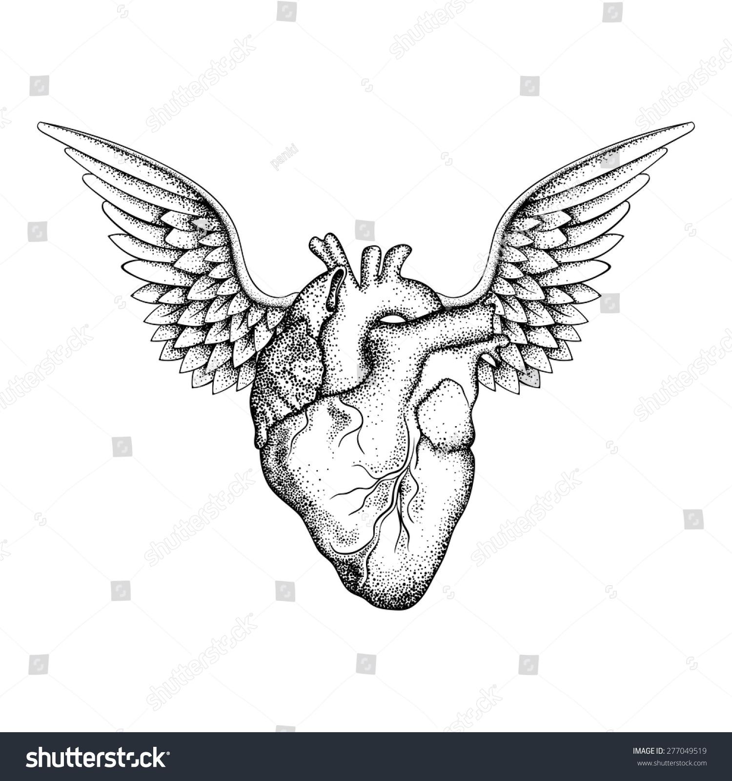 Hand Drawn Elegant Heart Wings Black Stock Vector Royalty Free