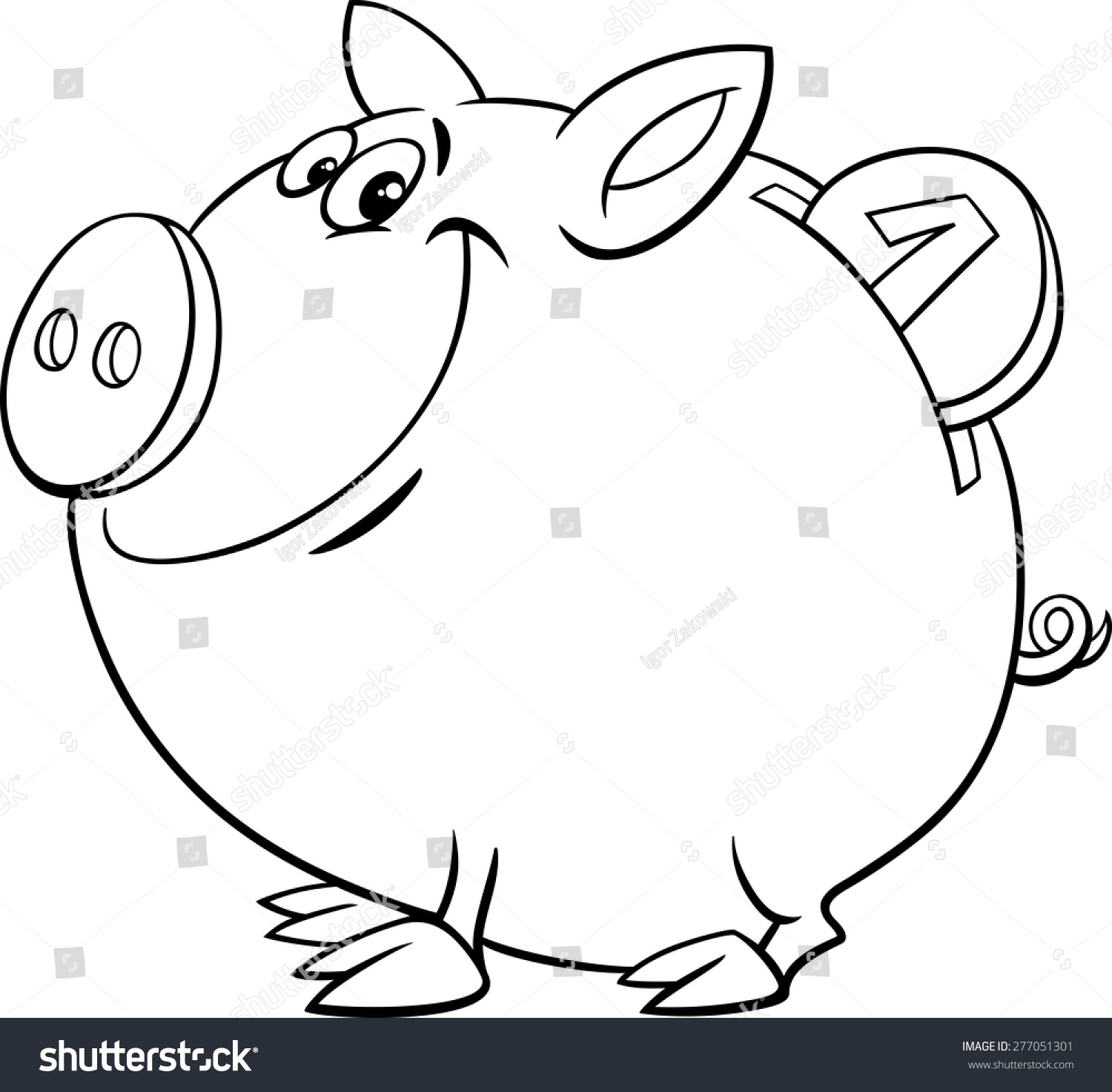 Black And White Cartoon Vector Illustration Of Cute Piggy ...